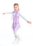 диаграмма детеныш девушки счастливый изолированный катаясь на коньках Стоковое фото RF