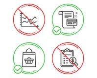 Диаграмма диаграммы, онлайн приобретение и карта оплаты набор значков Учитывая знак отчета r иллюстрация вектора