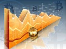 Диаграмма диаграммы cryptocurrency bitcoin вектора цифров реалистическая, графические оплаты, денежные переводы, финансовые конце Стоковые Фото