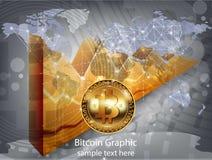 Диаграмма диаграммы cryptocurrency bitcoin вектора цифров реалистическая, графические оплаты, денежные переводы, финансовые конце Стоковая Фотография