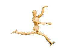 Диаграмма деревянный человек статуэтки человека делает опытами выставок эмоциональное действие на белой предпосылке Стоковая Фотография