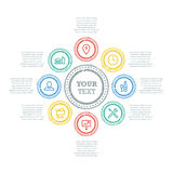 Диаграмма дела круга Grunge с значками и полями текста Стоковое Фото