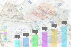 Диаграмма дела на банкнотах с предпосылкой компаса, ребром дела Стоковые Изображения