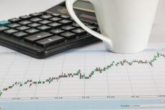 Диаграмма дела на белой предпосылке с калькулятором, чашкой кофе Стоковое фото RF