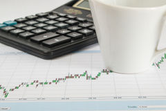 Диаграмма дела на белой предпосылке с калькулятором, чашкой кофе Стоковые Фотографии RF