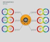Диаграмма дела, 6 шагов vector предпосылка infographics Пронумеруйте шаблон знамен/бирки или шаблон вебсайта Стоковая Фотография