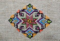 Диаграмма звезда орнамента вышивки lozenge косоугольника диаманта холста пеньки Стоковое Изображение