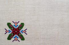 Диаграмма звезда орнамента вышивки lozenge косоугольника диаманта холста пеньки Стоковая Фотография