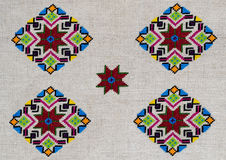 Диаграмма звезда орнамента вышивки lozenge косоугольника диаманта холста пеньки Стоковое Фото