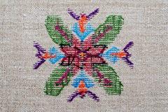 Диаграмма звезда орнамента вышивки lozenge косоугольника диаманта холста пеньки Стоковые Фотографии RF