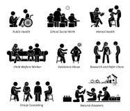 Диаграмма значки ручки социальных работников пиктограммы иллюстрация штока