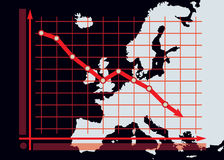 Диаграмма диаграммы спада на предпосылке карты Европы Стоковое фото RF