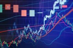 Диаграмма и диаграмма в виде вертикальных полос фондовой биржи Стоковая Фотография