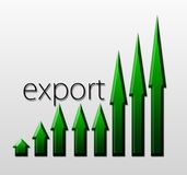 Диаграмма иллюстрируя рост экспорта, макроэкономическую концепцию иллюстрация штока