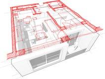 Диаграмма квартиры с диаграммой нарисованной рукой floorplan Стоковое Фото