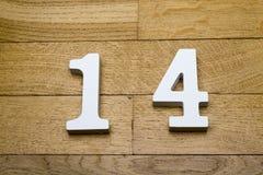 Диаграмма 14 на деревянном, пол партера Стоковое фото RF