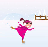диаграмма озеро льда девушки меньшяя катаясь на коньках тренировка Стоковые Изображения RF