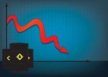 Диаграмма падения цены на нефть с красной вниз стрелкой Стоковое Изображение RF
