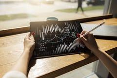 Диаграмма подсвечника Диаграмма фондовой биржи и валют торгуя ROI рентабельности инвестиций Финансовая предпосылка тенденций стоковая фотография rf