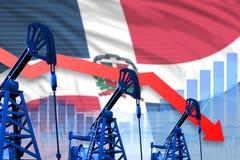 Диаграмма понижающ, падать на предпосылке флага Доминиканской Республики - промышленной иллюстрации нефтедобывающей промышленност стоковое фото rf