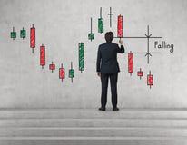 Диаграмма подсвечника чертежа бизнесмена Стоковые Изображения RF