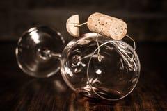 Диаграмма пробочки вина, человек концепции запойный Стоковое фото RF