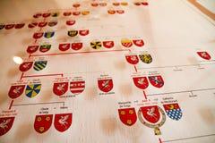 Диаграмма происхождения показывая heraldic приборы Стоковые Фото