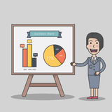 Диаграмма планированиe бизнеса бизнес-леди присутствующая Стоковое Изображение RF