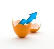 Диаграмма роста дела в сломленном яичке стоковое фото rf