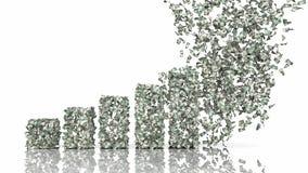 Диаграмма роста от банкнот доллара Стоковые Фото
