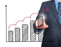 Диаграмма роста чертежа руки бизнесмена на визуальном экране Стоковые Изображения