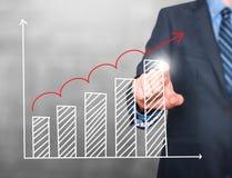 Диаграмма роста чертежа руки бизнесмена на визуальном экране Стоковое Изображение RF