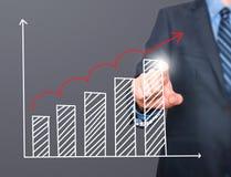 Диаграмма роста чертежа руки бизнесмена на визуальном экране Стоковое Фото