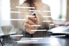 Диаграмма руководства проектом на виртуальном экране план-график Срок стоковые фото