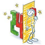 Диаграмма ручки как Санта пряча за 24th днем иллюстрация штока