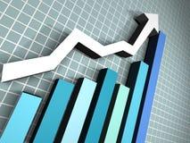 диаграмма сини стрелки 3d Стоковая Фотография