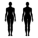 Диаграмма силуэт шаблона женщины моды твердая (передний & задний v иллюстрация вектора