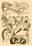 Диаграмма стилизованной коровы, лошади, овцы, овец, овечки, козы, цыпленка, петуха, свиньи, свиней, кота, собаки, утки, кота, вор Стоковое Изображение