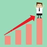 Диаграмма стрелки бизнесмена растущая Стоковая Фотография