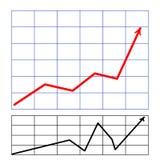 Диаграмма с чернотой стрелки красной Стоковая Фотография RF