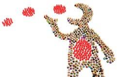 Диаграмма толпы мультфильма, едок красный иллюстрация штока