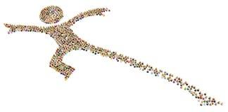 Диаграмма толпы шаржа, длинное перескакивание иллюстрация вектора