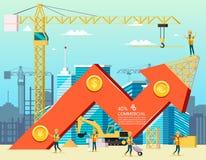 Диаграмма торговлей запаса стрелки здания конструкции стоимости жилья нового в городе Вектор Illsustration характеров работника ш иллюстрация штока