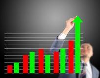 Диаграмма увеличения чертежа бизнесмена Стоковые Фотографии RF