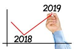 Диаграмма улучшения отметки руки бизнесмена 2019 изолированных год Стоковое Фото