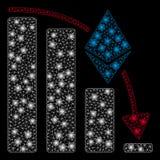 Диаграмма ускорения Ethereum яркой туши сетки падая с внезапными пятнами иллюстрация штока