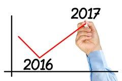 Диаграмма улучшения отметки руки бизнесмена 2017 изолированных год Стоковое Фото