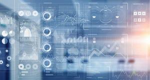 Диаграмма фондовой биржи на голубой предпосылке Мультимедиа стоковые фото