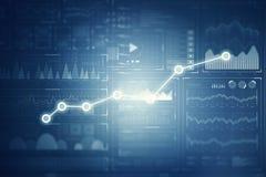 Диаграмма фондовой биржи на голубой предпосылке Мультимедиа Стоковые Изображения