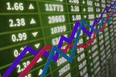 Диаграмма фондовой биржи с диаграммой Стоковые Фото